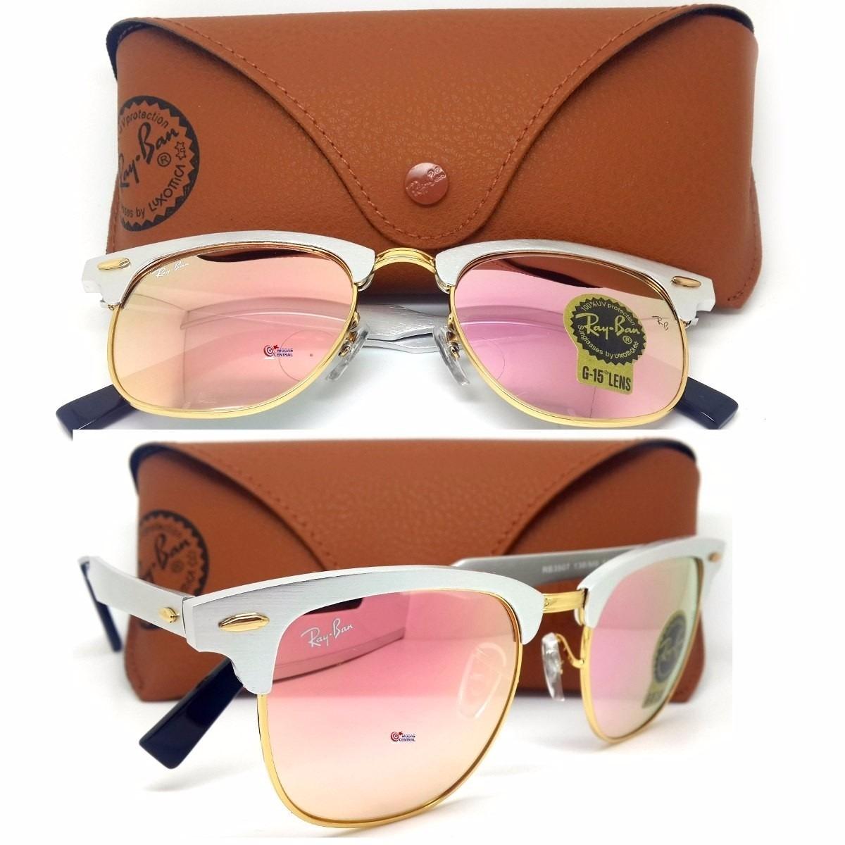 oculos espelhado ray ban clubmaster aluminium rb3507 rose. Carregando zoom. 5da6948995