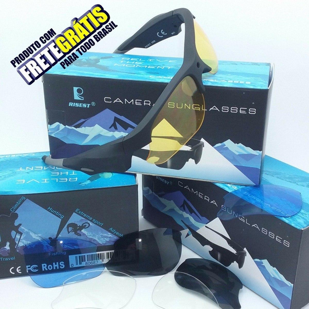 62d42a77f Óculos Espião Com Câmera Espiã Hd1080p Modelo Esportivo+lent - R ...