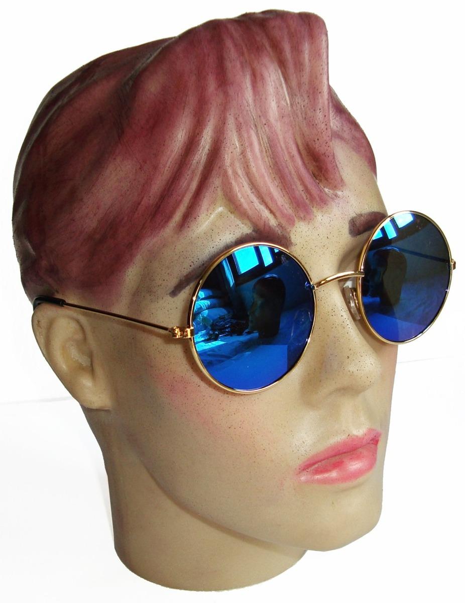oculos estilo redondo john lennon dourado lente azul espelha. Carregando  zoom. 15a132136a