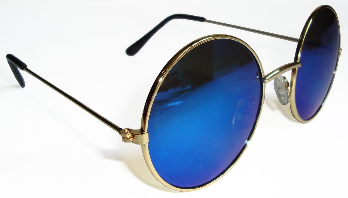 oculos estilo redondo john lennon dourado lente azul espelha. Carregando  zoom. 51d04de0a4