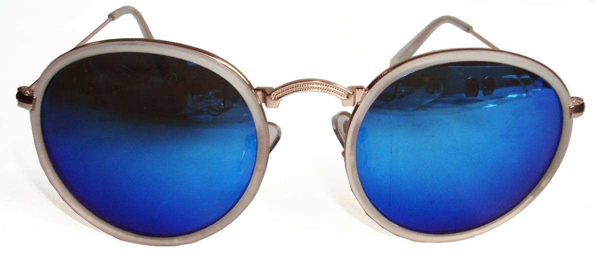 oculos estilo redondo john lennon dourado lente azul espelha. Carregando  zoom. 60a76af4c5