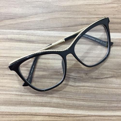óculos feminino armacao grau geek quadrado dourado marc jaco