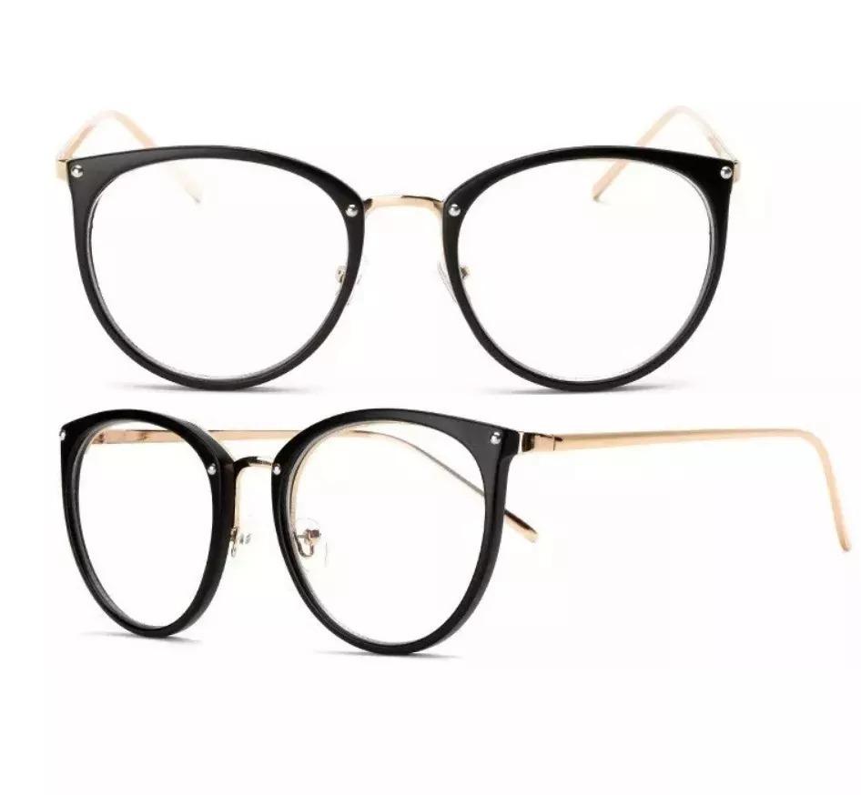 ba17089ec6d6e Óculos Feminino Armação Grau Geeek Redonda Vintage - R  39