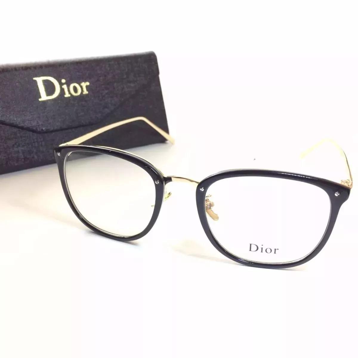 óculos feminino armação grau geek quadrado vintage preta dio. Carregando  zoom. 7a3d2da8dc