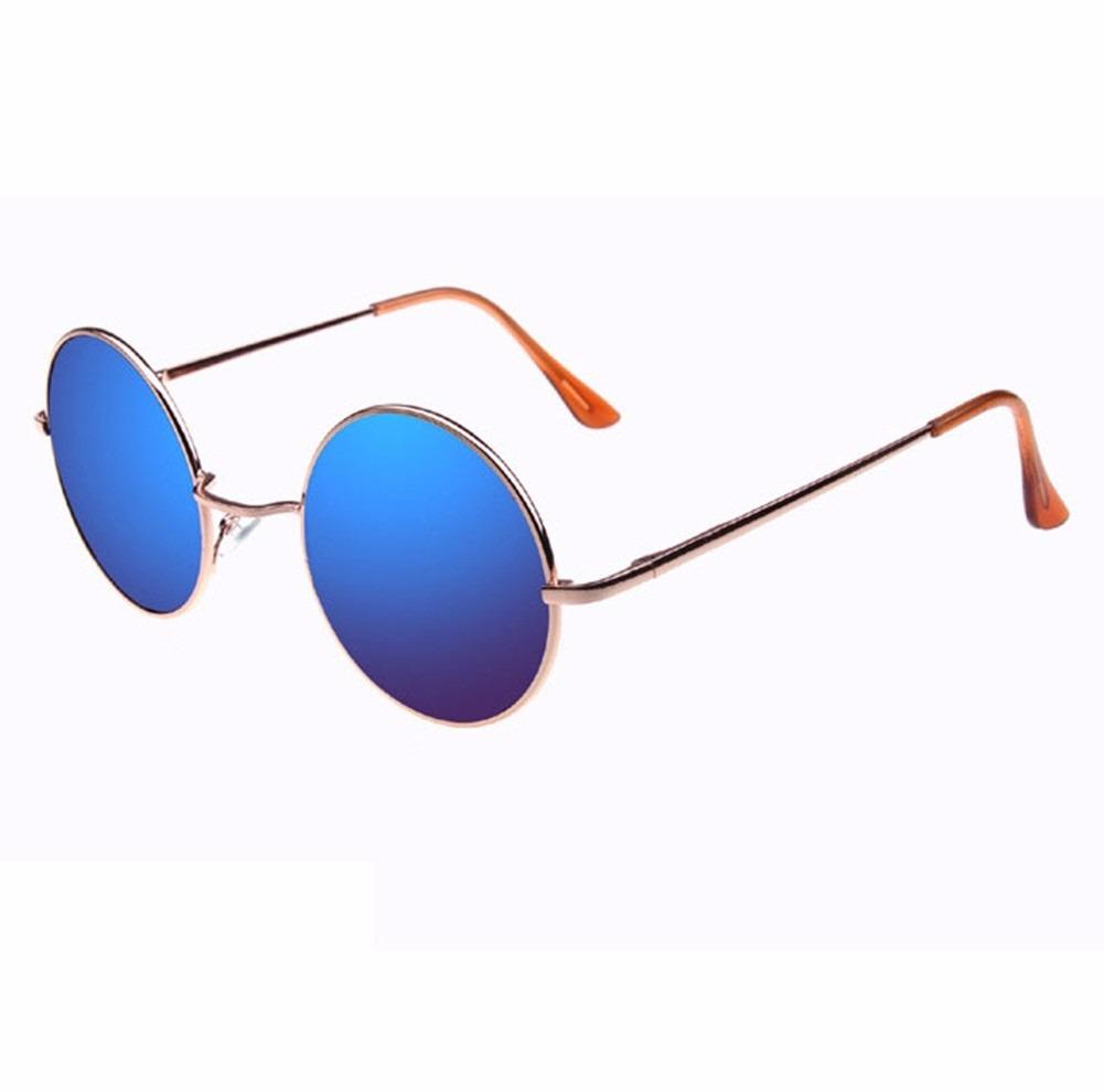 9390d05b14f01 óculos feminino azul espelhado dourado redondo para mulher. Carregando zoom.