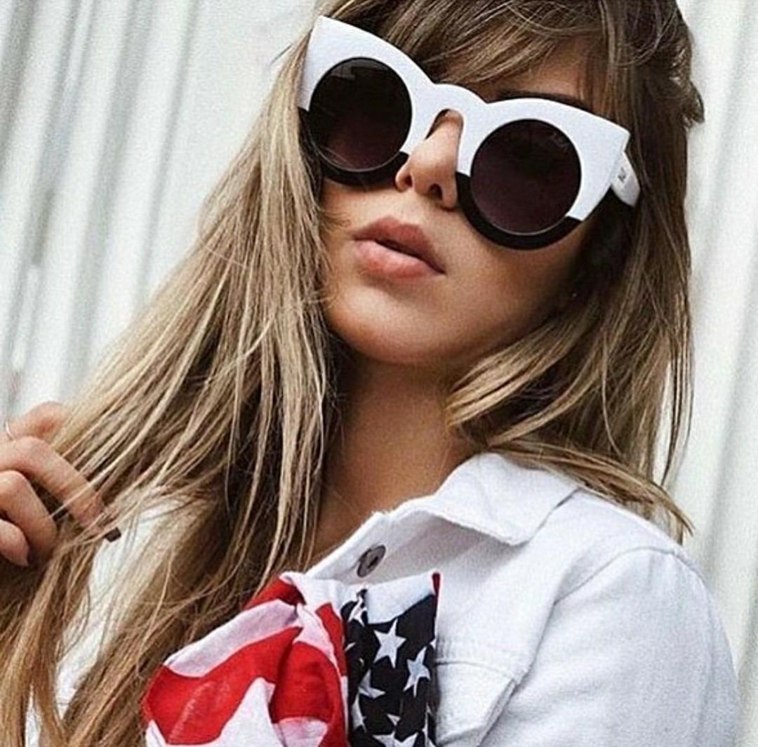 óculos feminino de sol branco preto de marca importado lindo. Carregando  zoom. c901a9b763