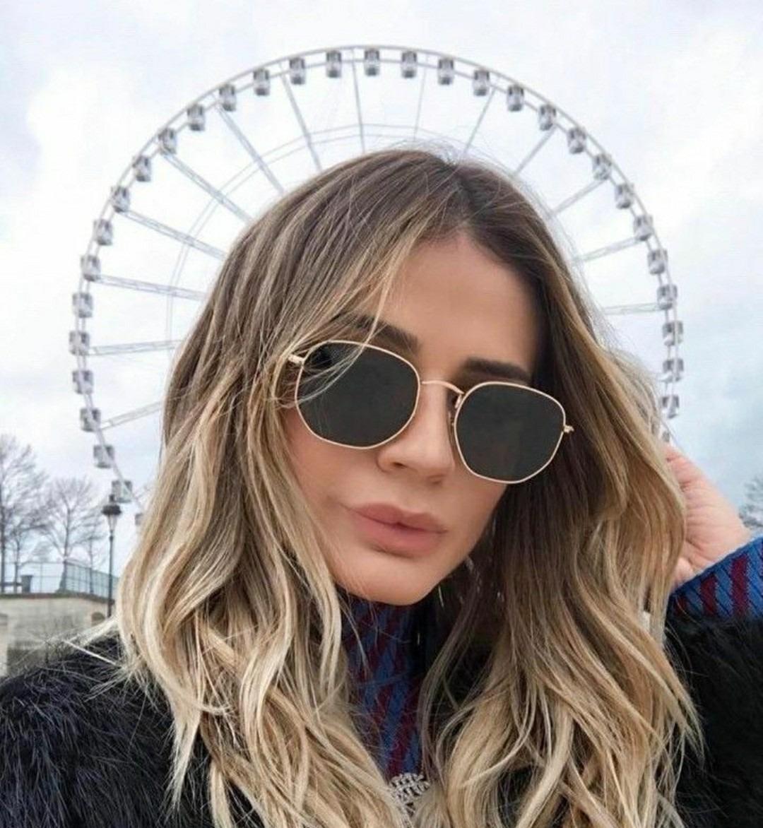 ae4363ea57e81 óculos feminino de sol escuro grande hexagonal 2019 + caixa. Carregando zoom .