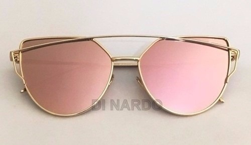 Óculos Feminino De Sol Espelhado Rose Gatinho Moda 2018 - R  65,99 ... 7a616a80dc