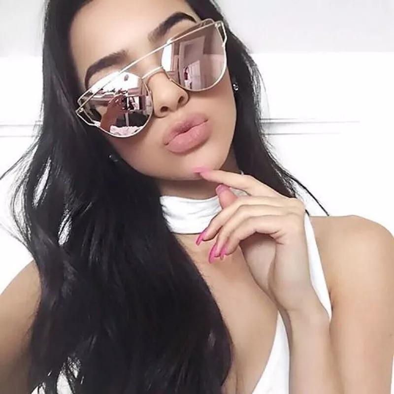 01f2d937c óculos feminino de sol espelhado rose gatinho moda 2018. Carregando zoom.