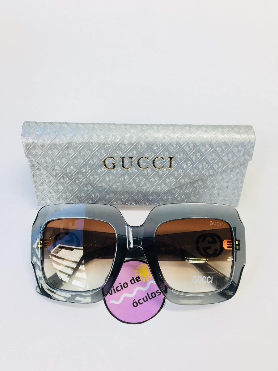 2d8579070cfb8 óculos feminino de sol quadrado gucci oversized gg0053 s. Carregando zoom.