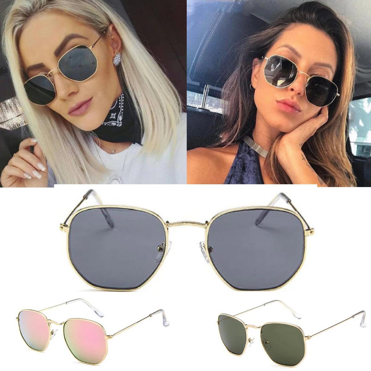 89c2f61d0 óculos feminino de sol redondo sextavado retrô vintage uv400. Carregando  zoom.