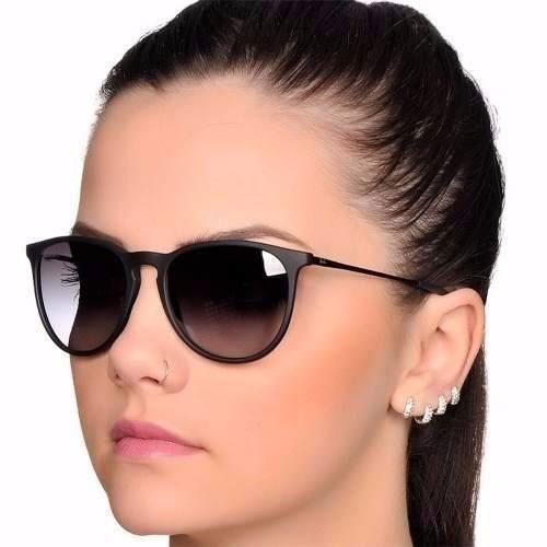 bdb025efa6da1 Óculos Feminino Masculino Erika Preto Fosco Lente Degradê - R  33