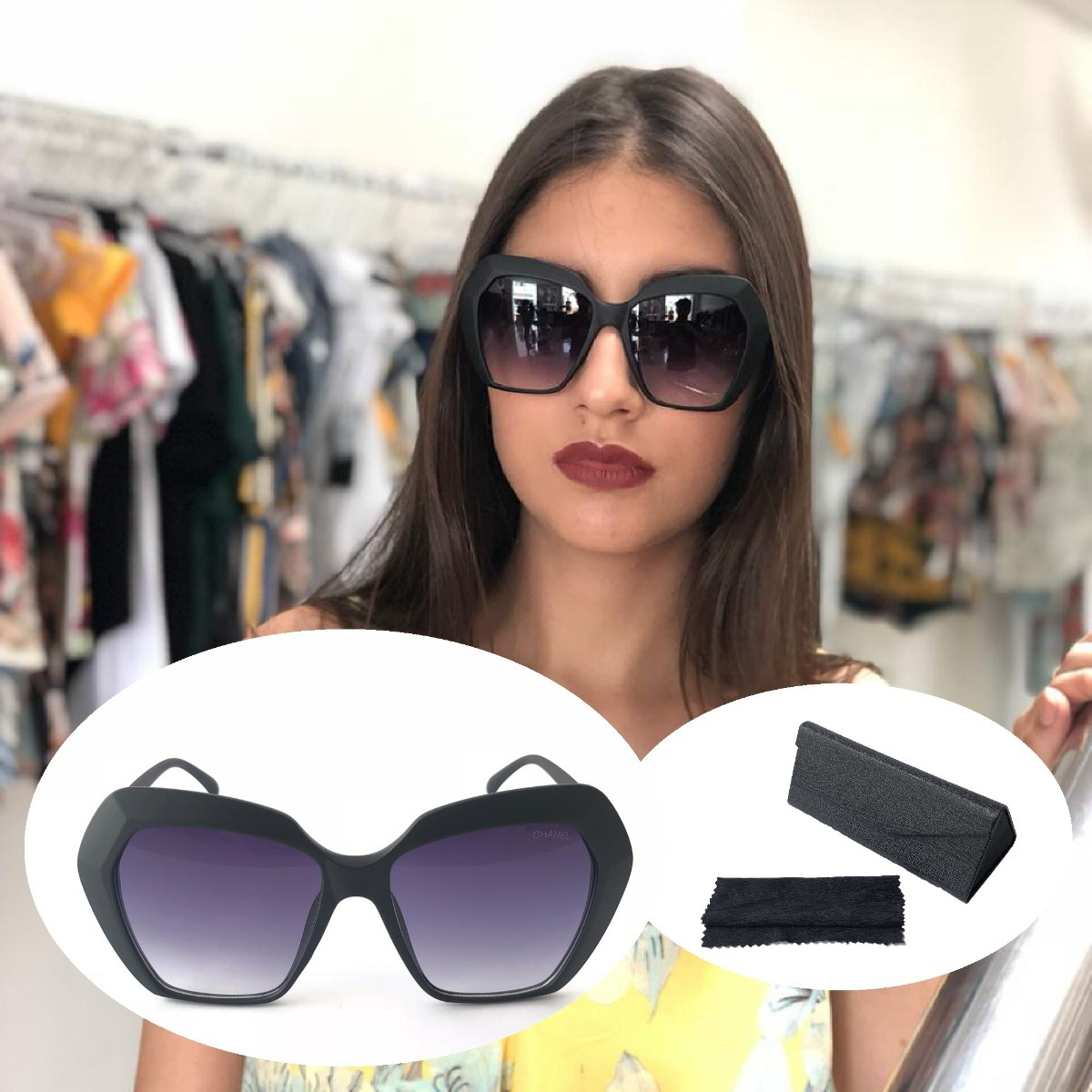 2250559411d26 óculos feminino quadrado grande estiloso blogueiras preto. Carregando zoom.
