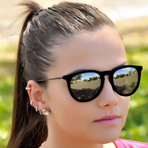 Oculos Feminino Rayban Veludo Prata Espelhado Erika Velvet
