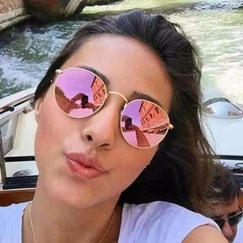 36e475ef6 Oculos Feminino Redondo Lente Rosa Espelhada Uv400 - R$ 49,99 em ...