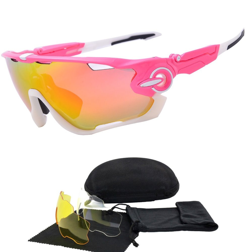 Óculos Feminino Rosa 3 Lentes Colorida Uv400 Bike Corrida - R  124 ... 84b7fb48e7