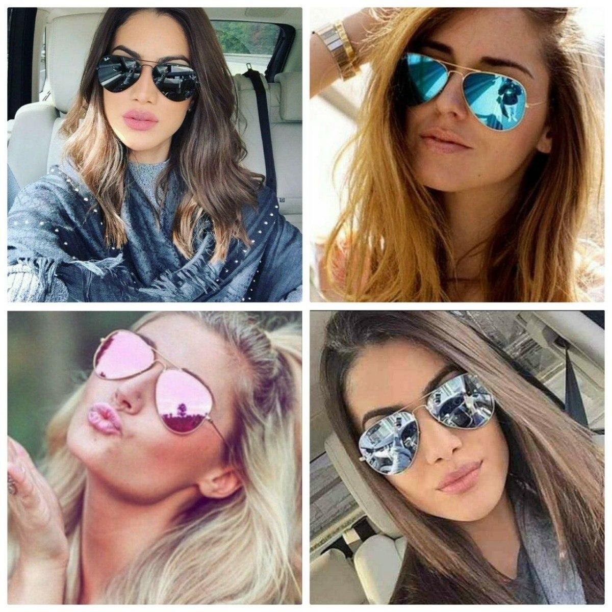 f3dab8f50d2ff óculos feminino rosa azul prata espelhado aviador barato top. Carregando  zoom.