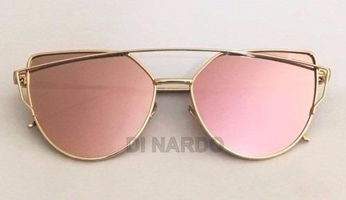 óculos feminino starlight dio espelhado rosa + case + brinde