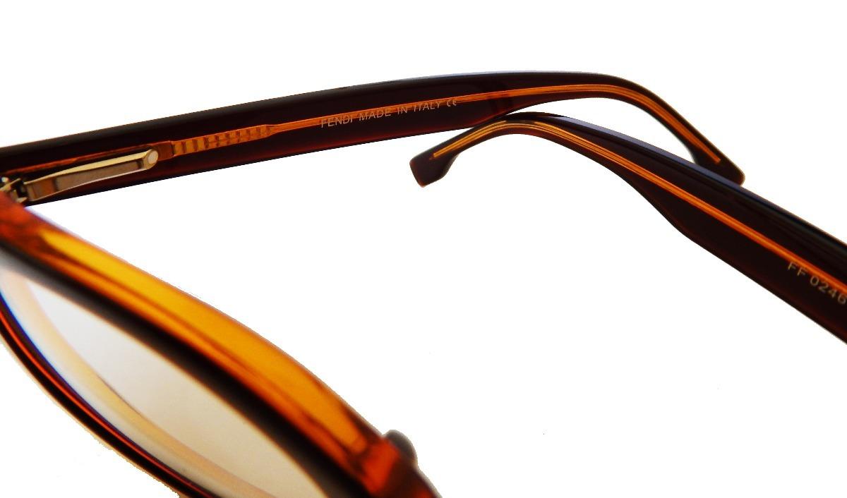 Armação Óculos Grau Fendi Ff0246 Feminino Gatinho Marrom - R  120,50 ... 381fb50b10