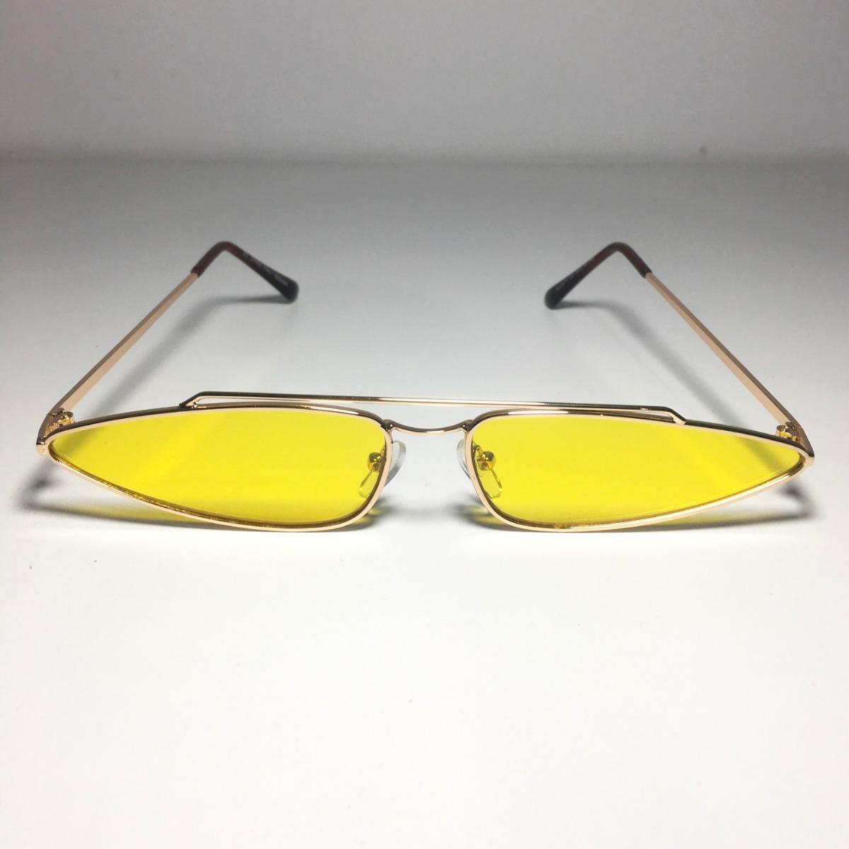 28f5fec0b0996 óculos fino de sol retro vintage anos 90 amarelo. Carregando zoom.