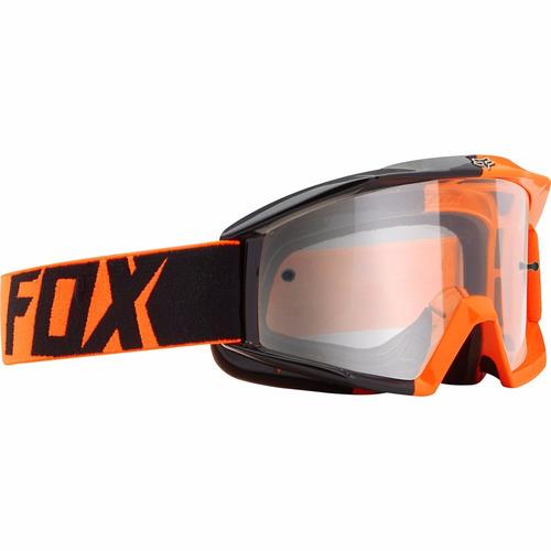 óculos fox main 180 black/orange transparente trilha cross