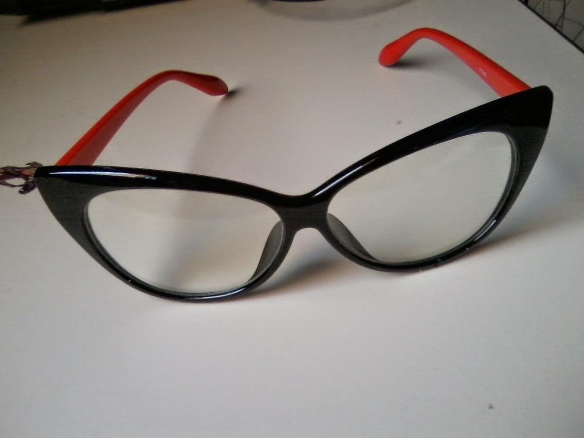 e8371108585cd Óculos Gato Gatinho Cat Eye Armação Grau Preto E Vermelho - R  50
