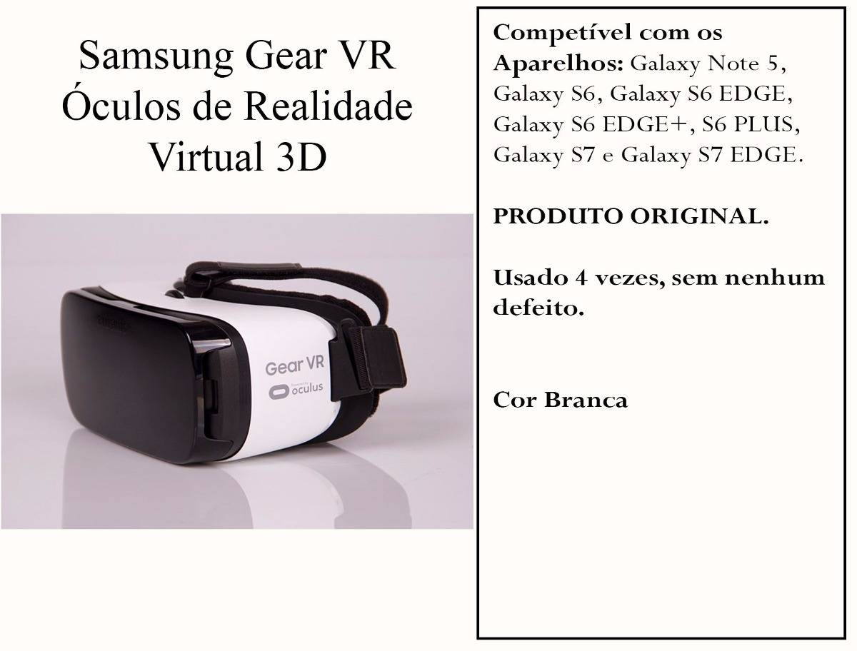 óculos gear vr realidade virtual 3d - samsung original. Carregando zoom. 7760e17b20