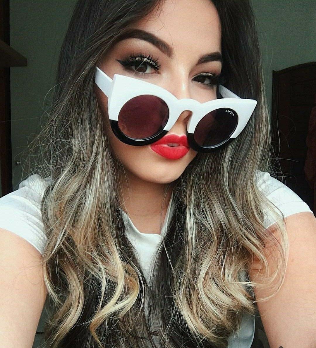 bf67913c88642 óculos grande feminino das blogueiras moda modelo gatinho uv. Carregando  zoom.