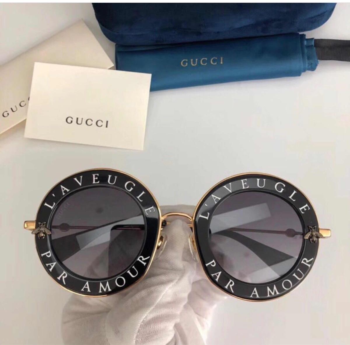 5c4344d101bea Óculos Gucci L Aveugle Preto Novo Original - R  890,00 em Mercado Livre