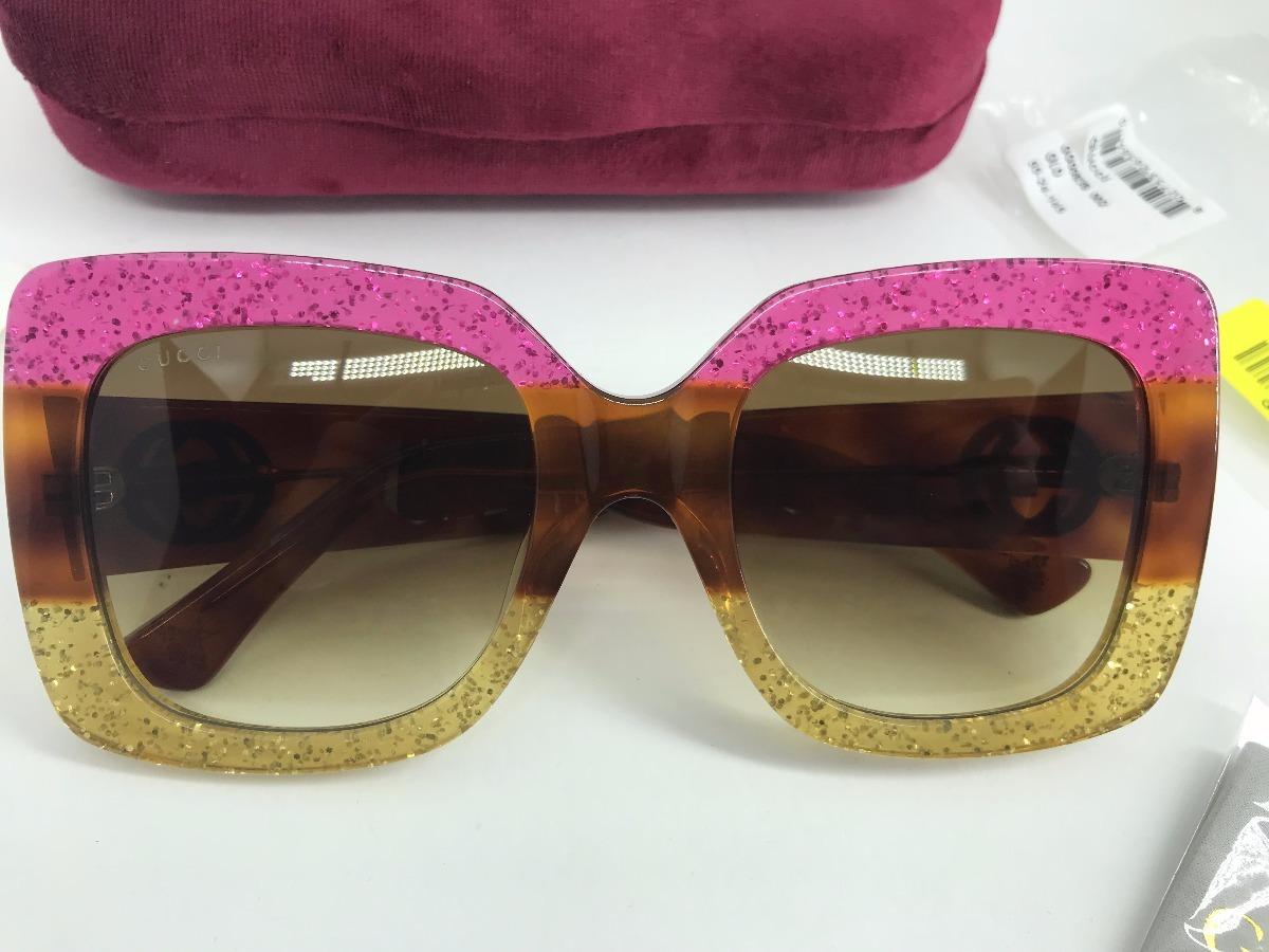 ce1b2afdd89da ... Oculos Gucci Original Gg0083s Square Glitter Pink - R 649,00 em .