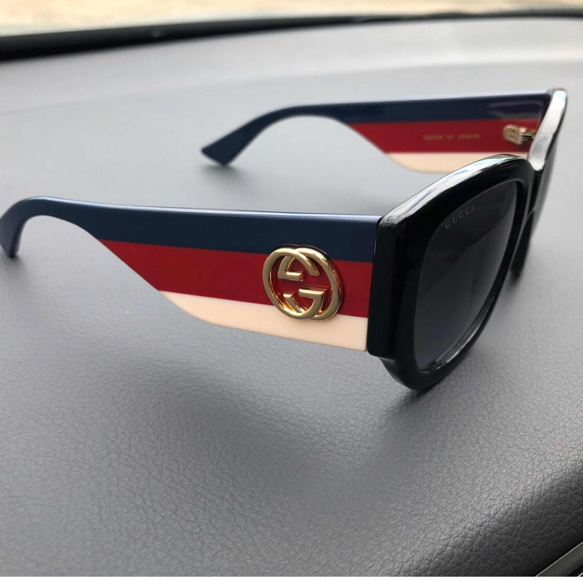 dc0d8fb4f Óculos Gucci Preto Com Haste Tricolor Original - R$ 1.199,00 em ...