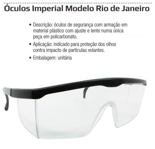Oculos Imperial Modelo Rio De Janeiro Incolor - Proteplus - R  8,90 ... 63d1dd470e