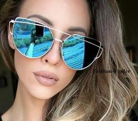 09ee1592f Óculos Feminino Armação Gatinho Espelhado Geometrico Moderno