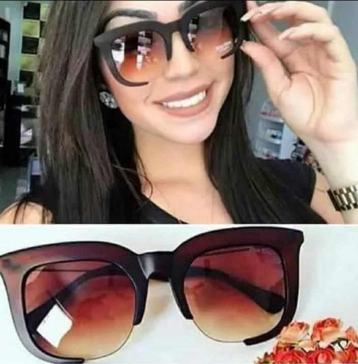 6b1b578d7c9cb Óculos Importado Grande Redondo De Sol Marrom Marca Famosa - R  42 ...
