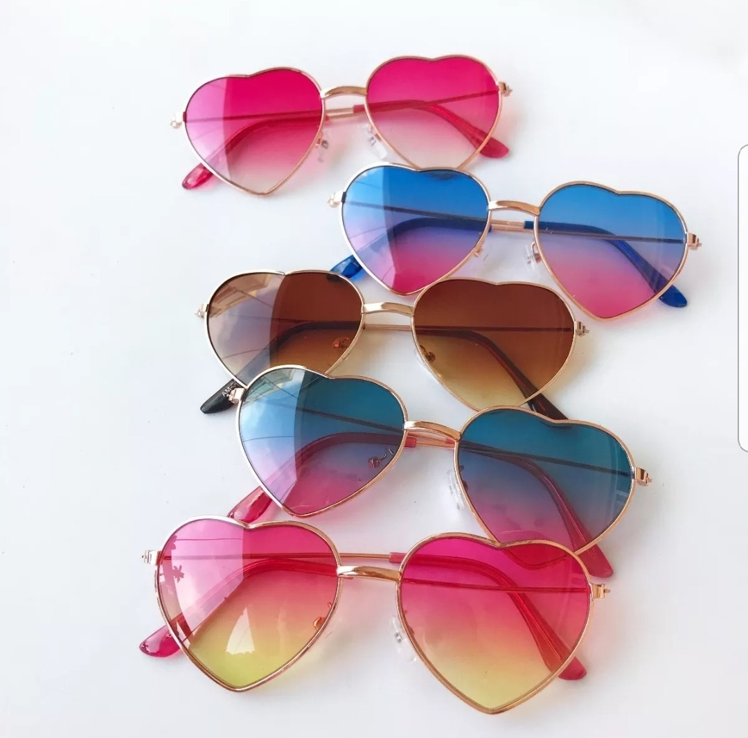 óculos infantil coração transparente colorido proteção uv400. Carregando  zoom. 82b31bace9