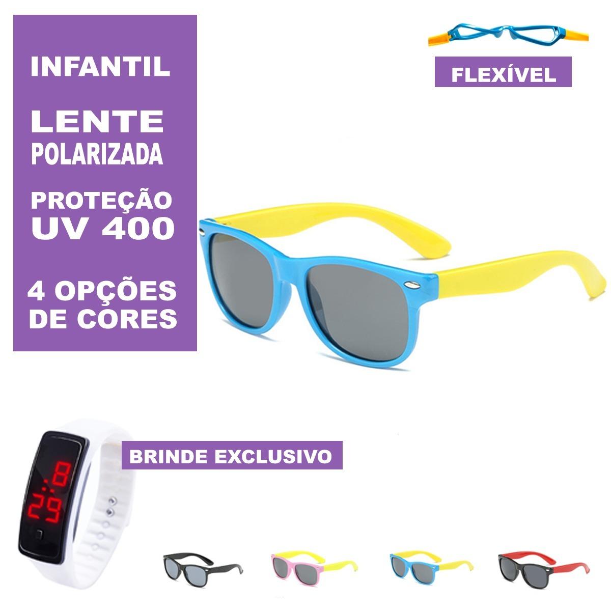 óculos infantil polarizado de sol uv400 flexível + brinde. Carregando zoom. d2daa50df9