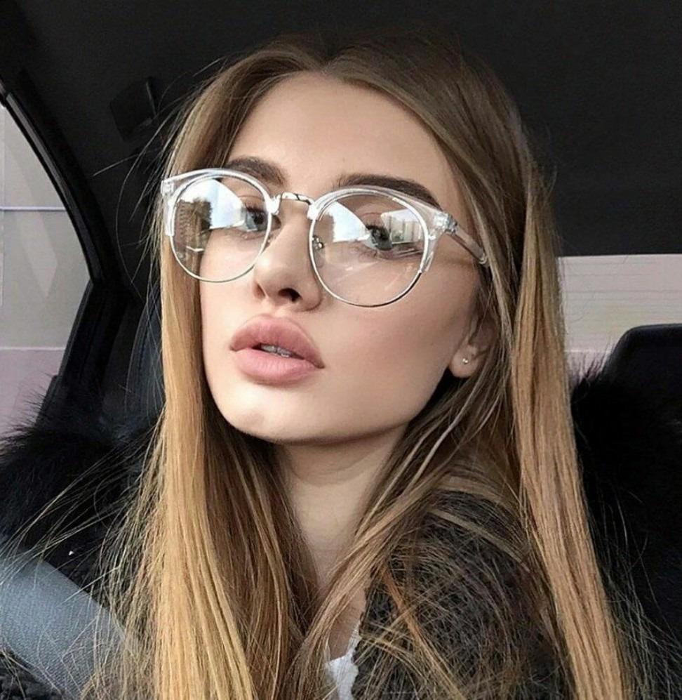 óculos lente clara sem aro armação redonda transparente luxo. Carregando  zoom. 9e59c61ab8