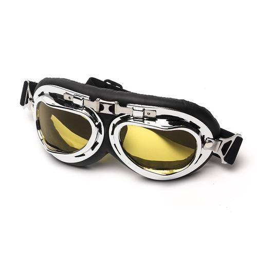 e1b65bfd34efd óculos aviador lente amarela estilo vintage retro moto old. Carregando  zoom... óculos lente moto