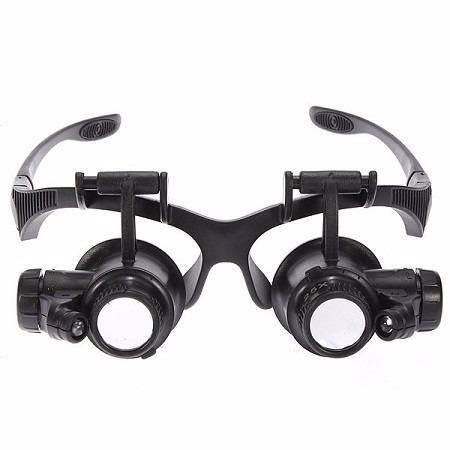 Oculos Lupa Profissional 2 Luz Led 4 Lentes 10x 15x 20x 25x - R  46 ... 86b8e1af17