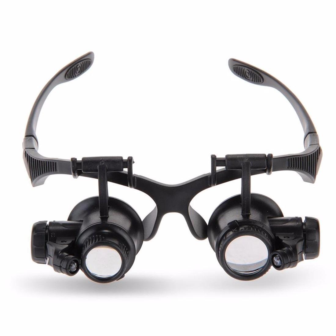 oculos lupa profissional 2 luz led 4 lentes 10x 15x 20x 25x. Carregando  zoom. b6037e3b70