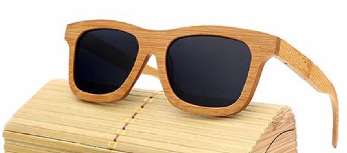 ee1a83b1c Óculos Madeira Bambu Polarizado Uv400 Quadrado Sol Com Caixa - R ...