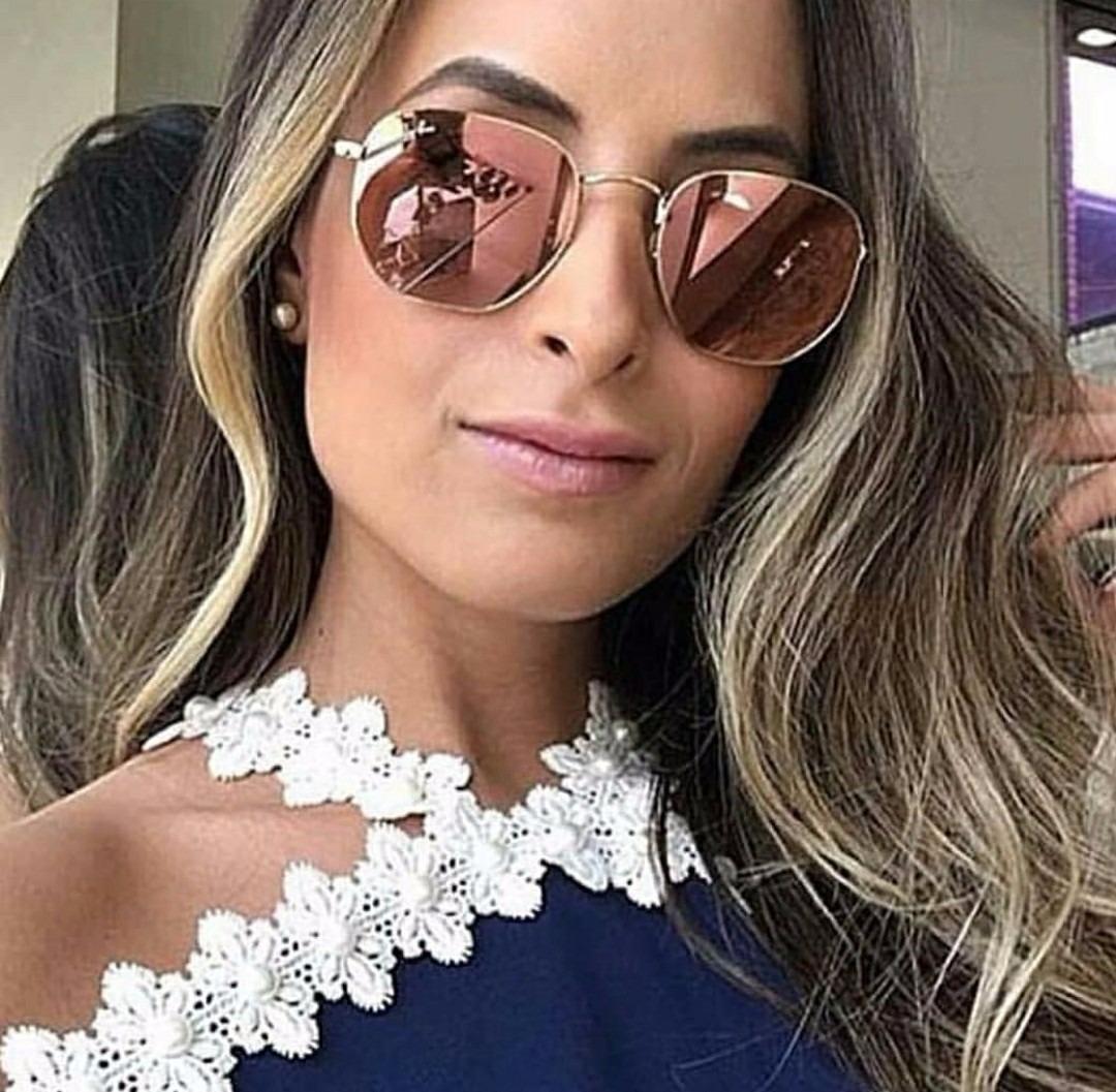 50586d6427a20 óculos marca famosa modelo espelhado blogueira hexagonal. Carregando zoom.