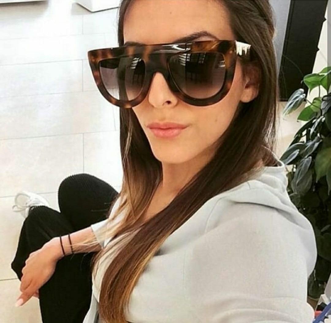 b39921bf19363 óculos marrom degrade de luxo feminino blogueira oncinha. Carregando zoom.