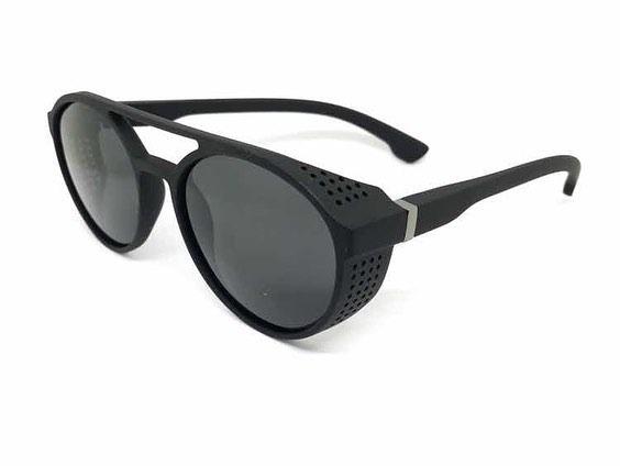 94d88202a511f Óculos Masculino Sol Redondo Steampunk Retrô Proteção Latera - R  99 ...