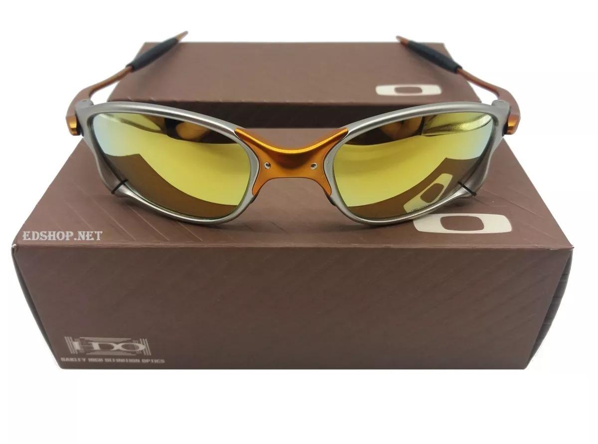 a4c25788a8695 óculos oakley 24k dourada + certificado + cartão teste. Carregando zoom.