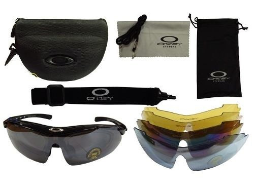 0336a66dc289e Óculos Esportivo Oakley Ciclismo Airsoft 5 Lentes Estojo - R  165