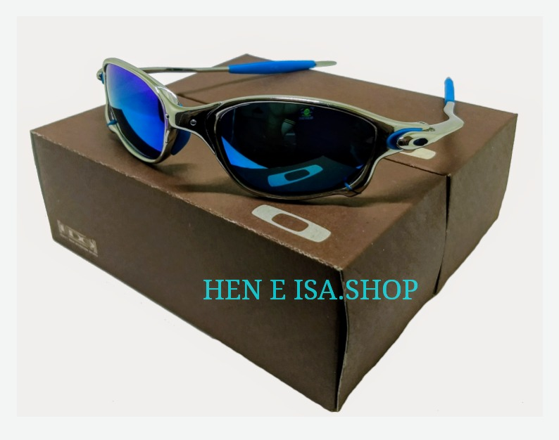 db39c3aaac28b oculos oakley double xx platinum azul + teste + frete gratis. 6 Fotos