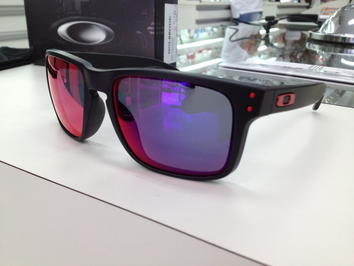 cd5cdc9600469 Oculos Oakley Holbrook 009102l-36 Matte Black L .red Iridium - R ...