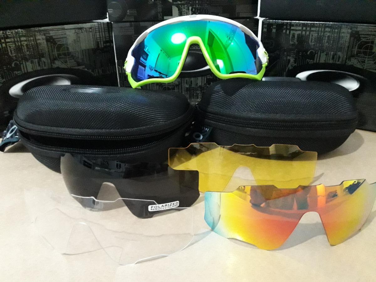 8752d8280f5a1 óculos oakley jawbreaker com 5 lentes - branco - verde. Carregando zoom.