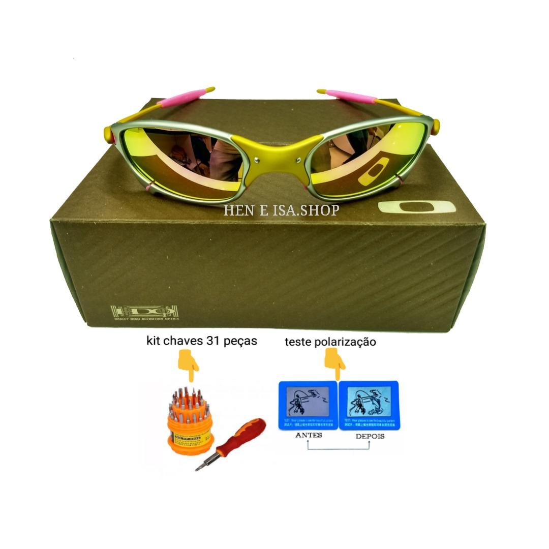 fa9f471e2 Oculos Oakley Juliet 24k Rosa +teste+certificado+chave+frete - R ...